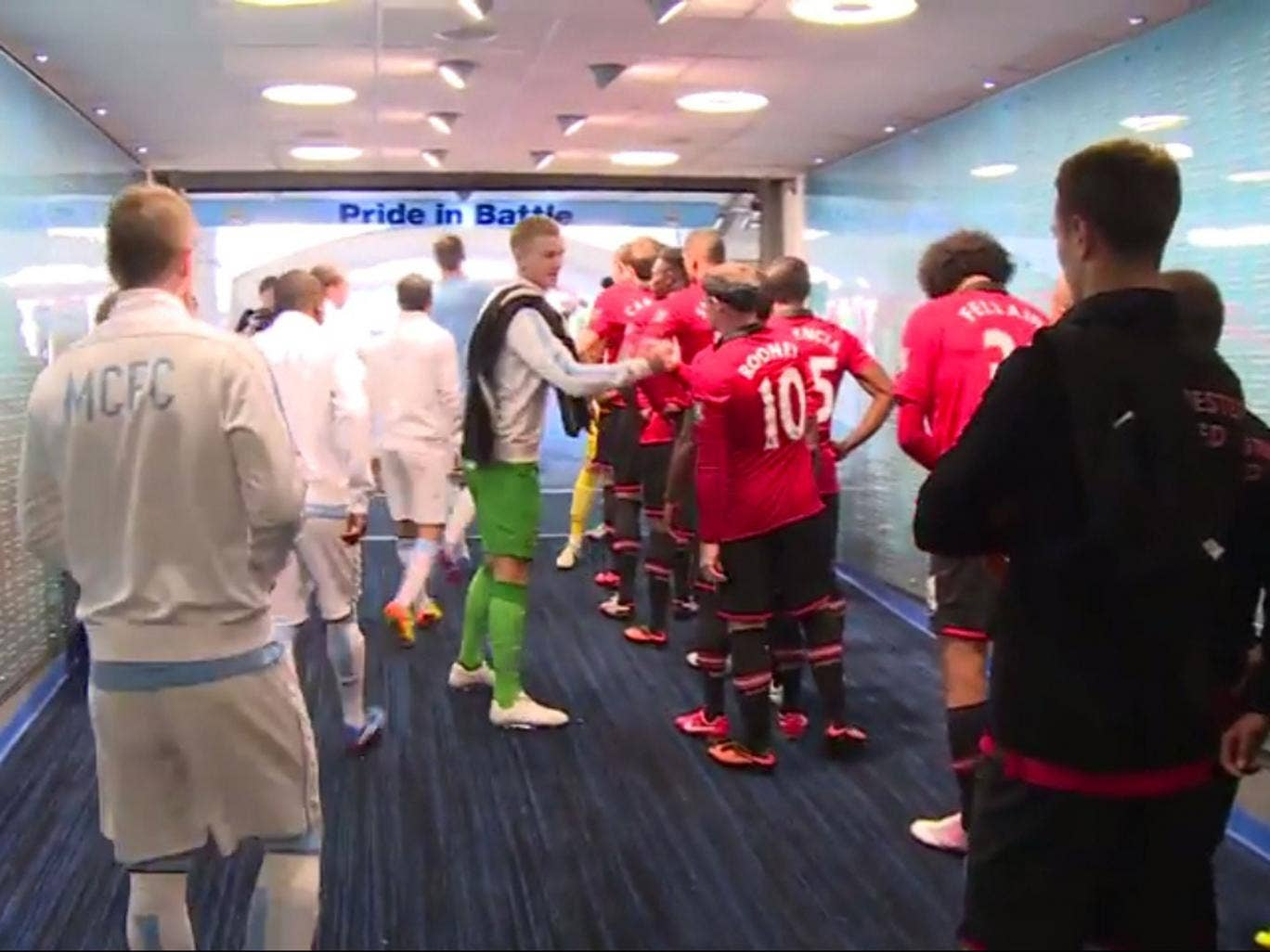 Manchester City tunnel cam before their derby match with Manchester United