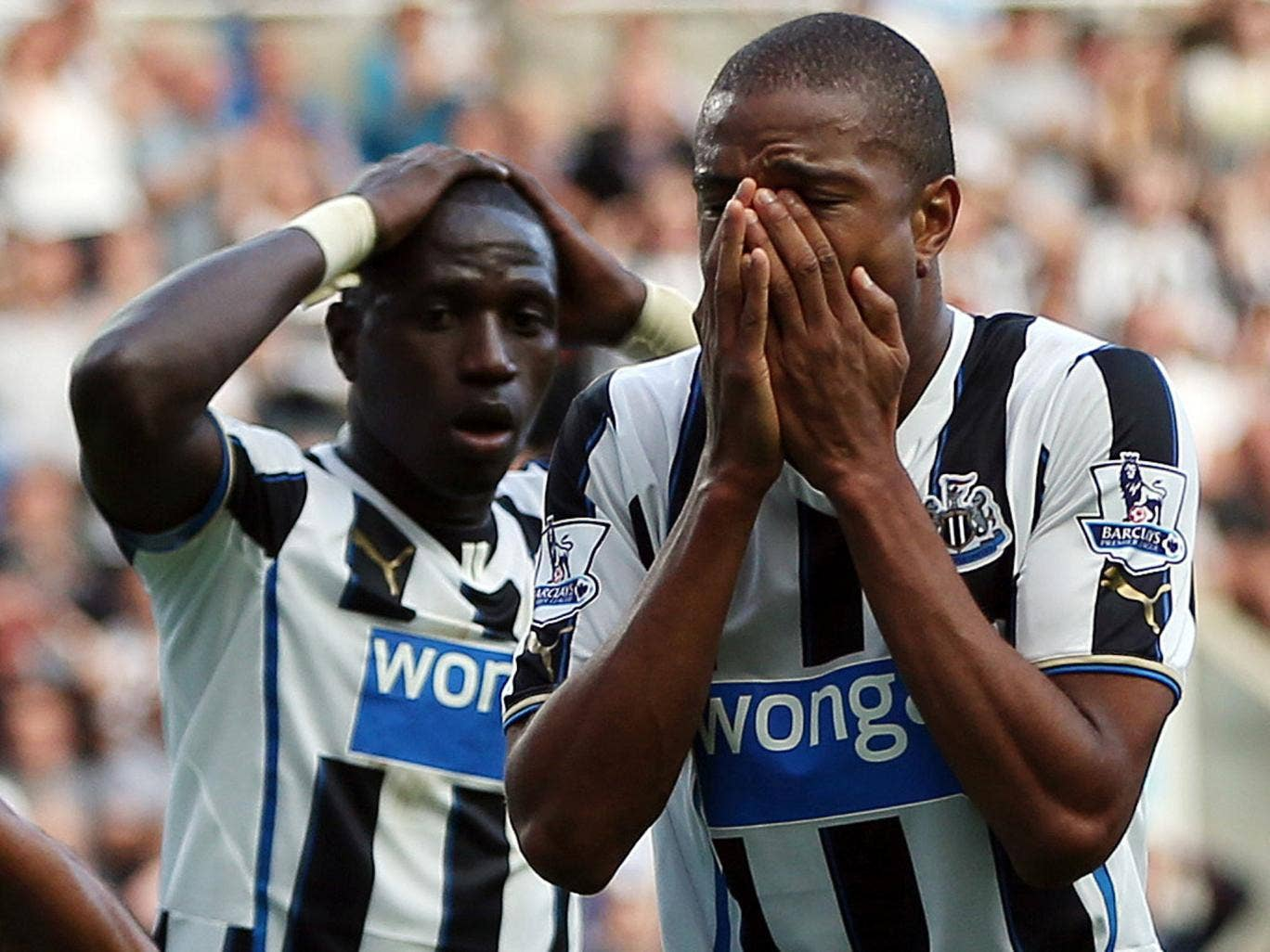 Moussa Sissoko and Loic Remy of Newcastle