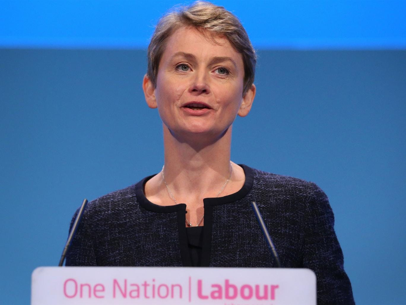 Yvette Cooper delivers her speech at the Labour Party conference