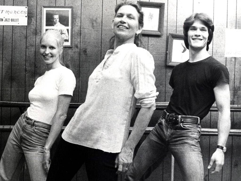 Swayze, centre, at her dance studio in Houston in 1978 with her son Patrick and his wife Lisa Niemi