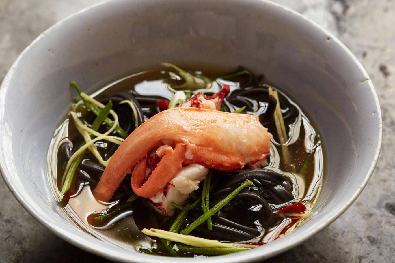 Turn lobster shells into a clear broth and serve with noodles