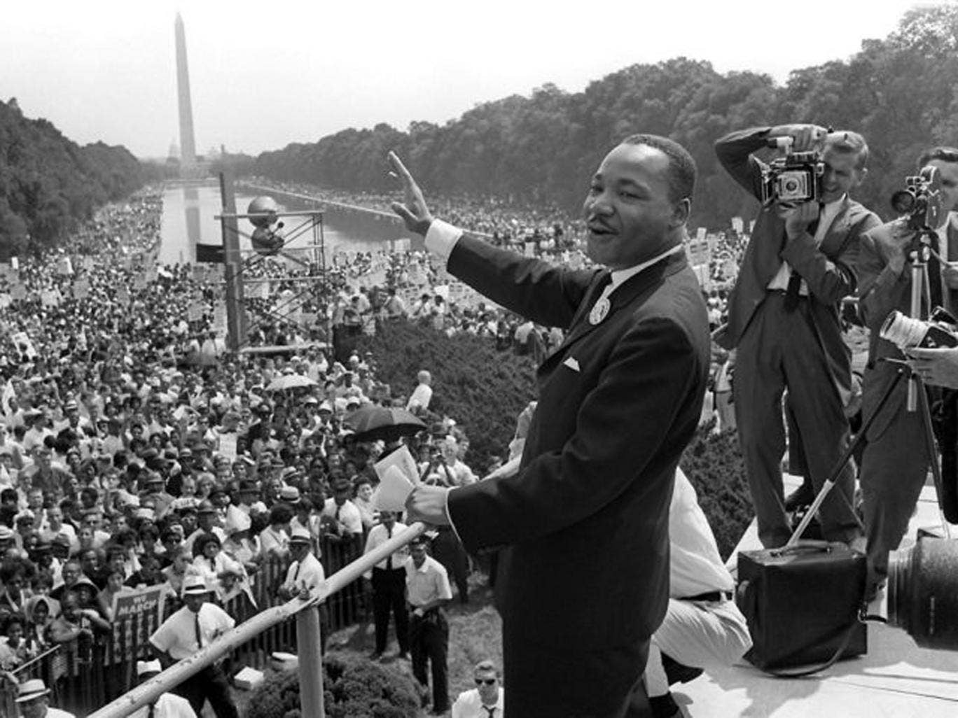 Martin Luther King Jr at the Lincoln Memorial in 1963