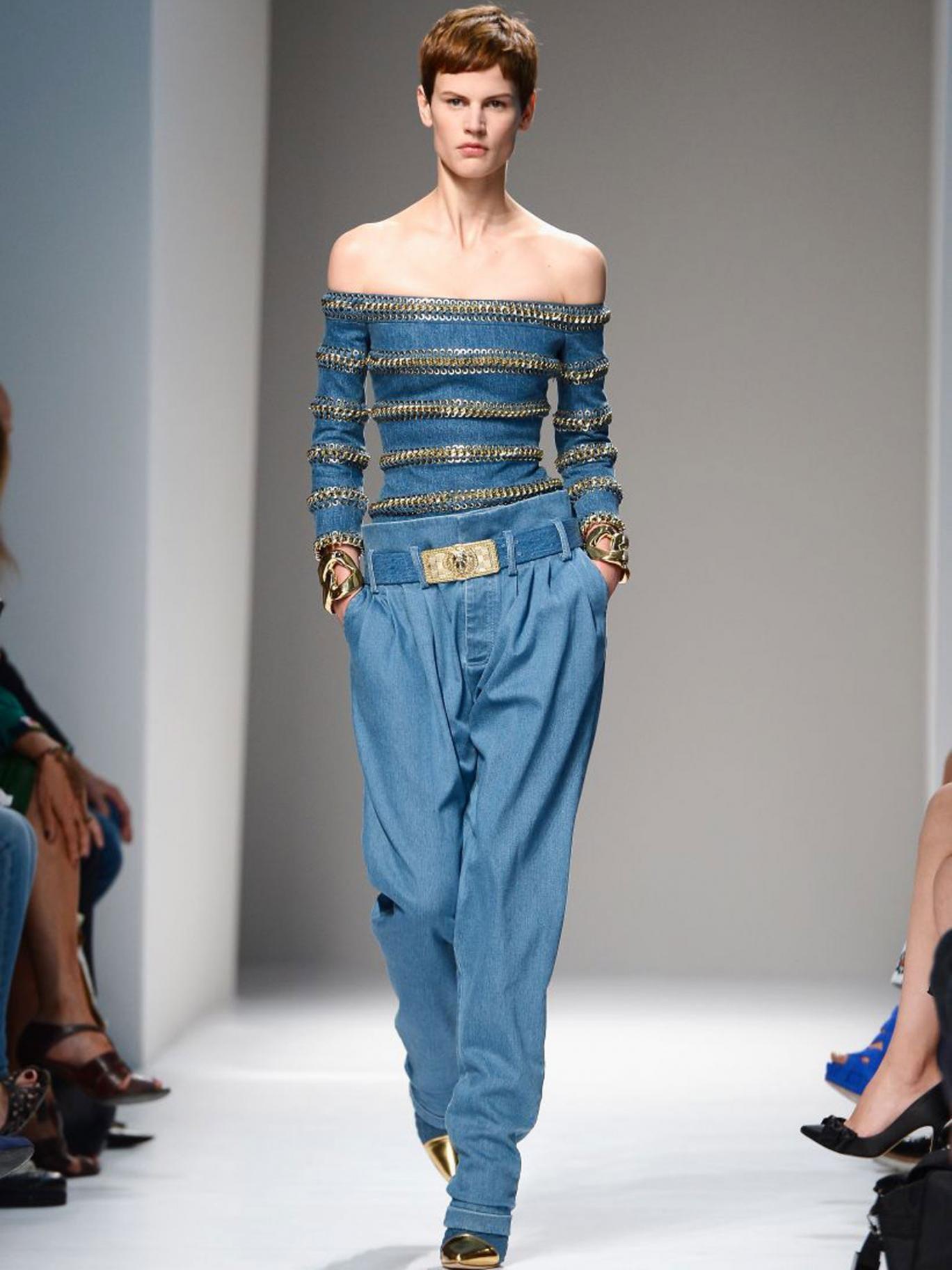 A model walks the runway during the Balmain show as part of the Paris Fashion Week Womenswear Spring/Summer 2013