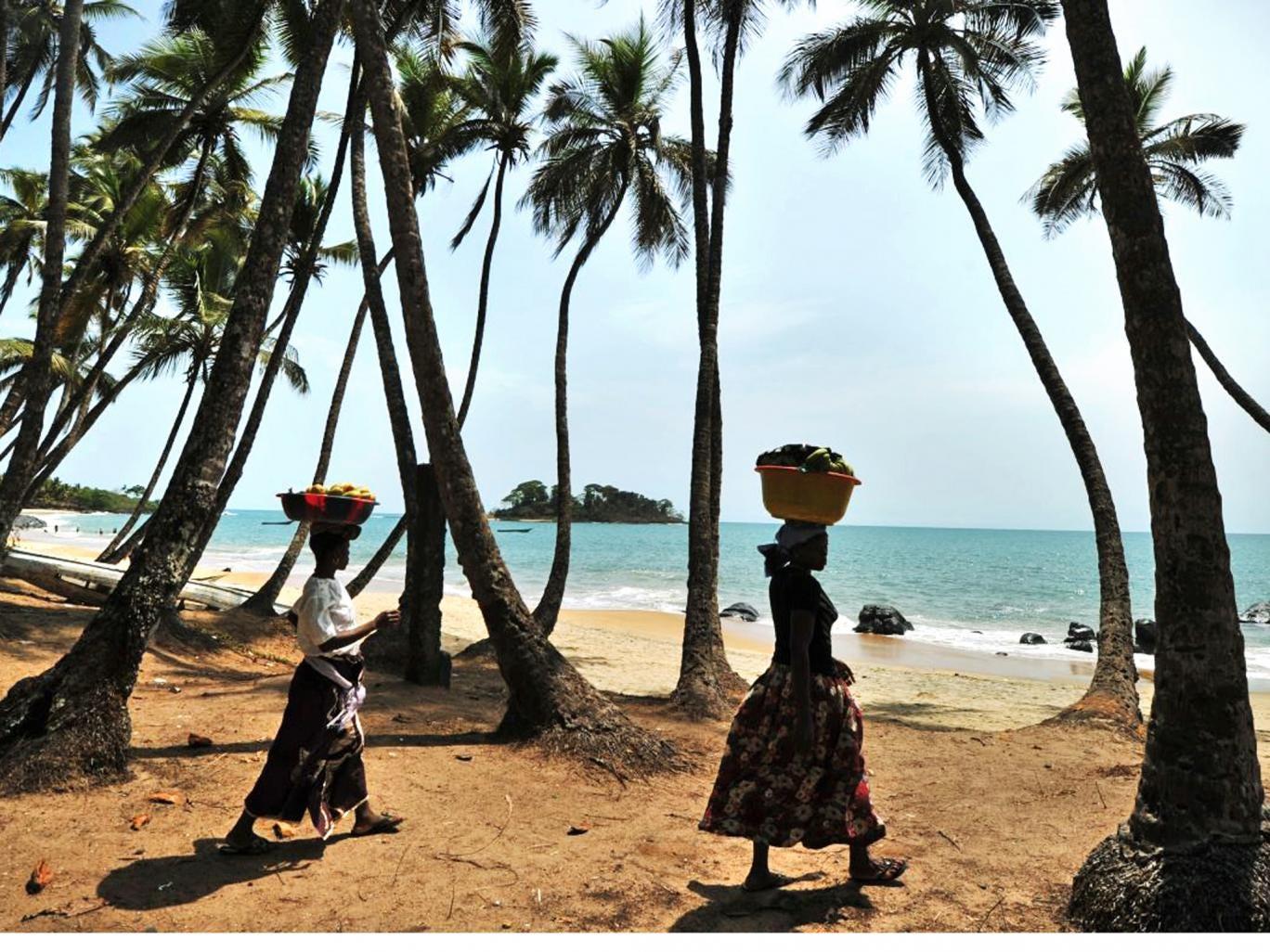 Balancing act: a beach in Sierra Leone, West Africa