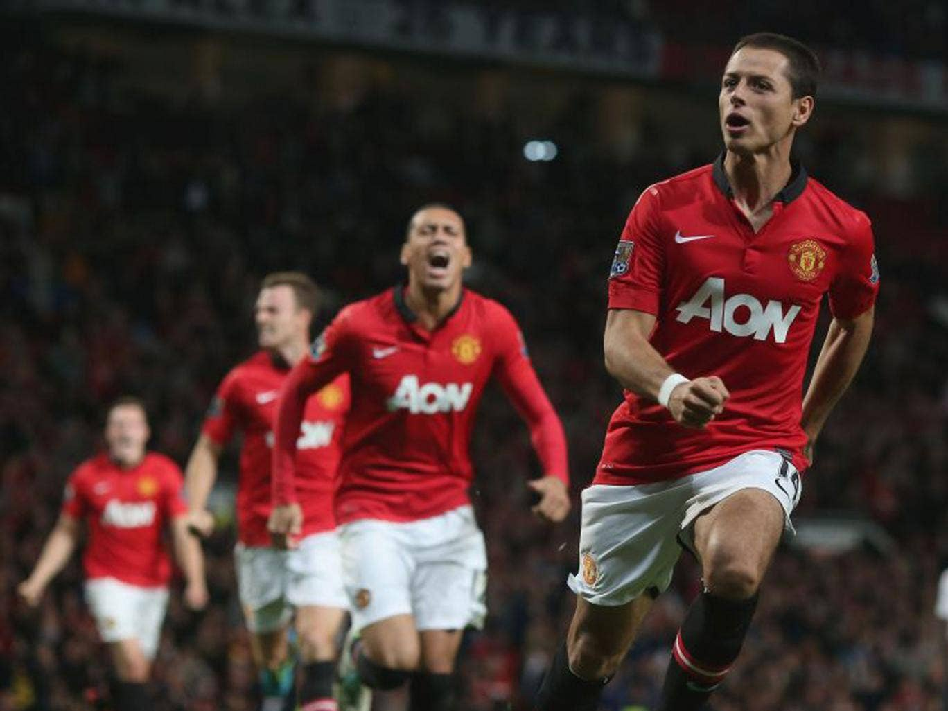 Javier Hernandez after scoring United's winner on Wednesday
