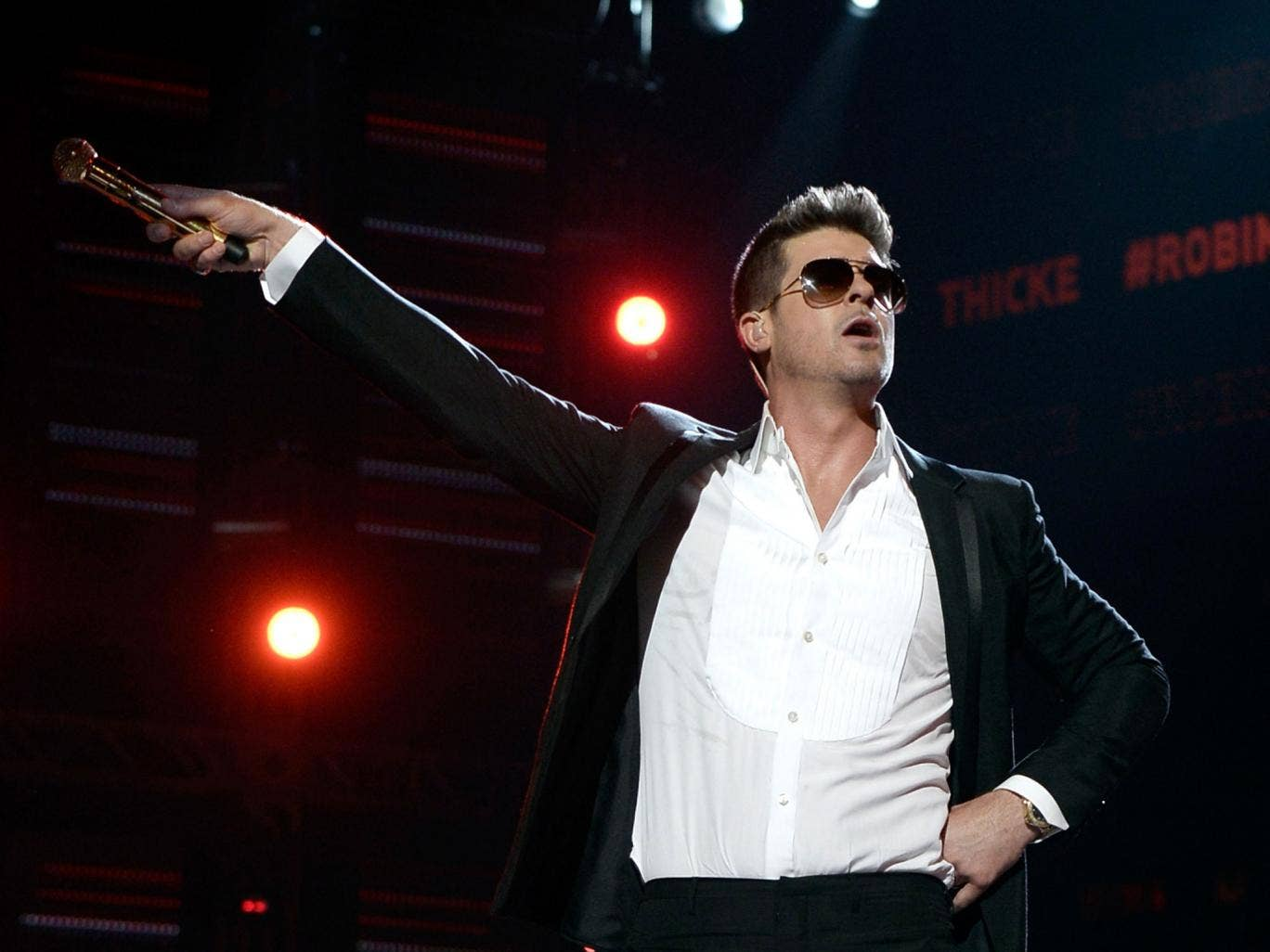 Robin Thicke performing in June of this year