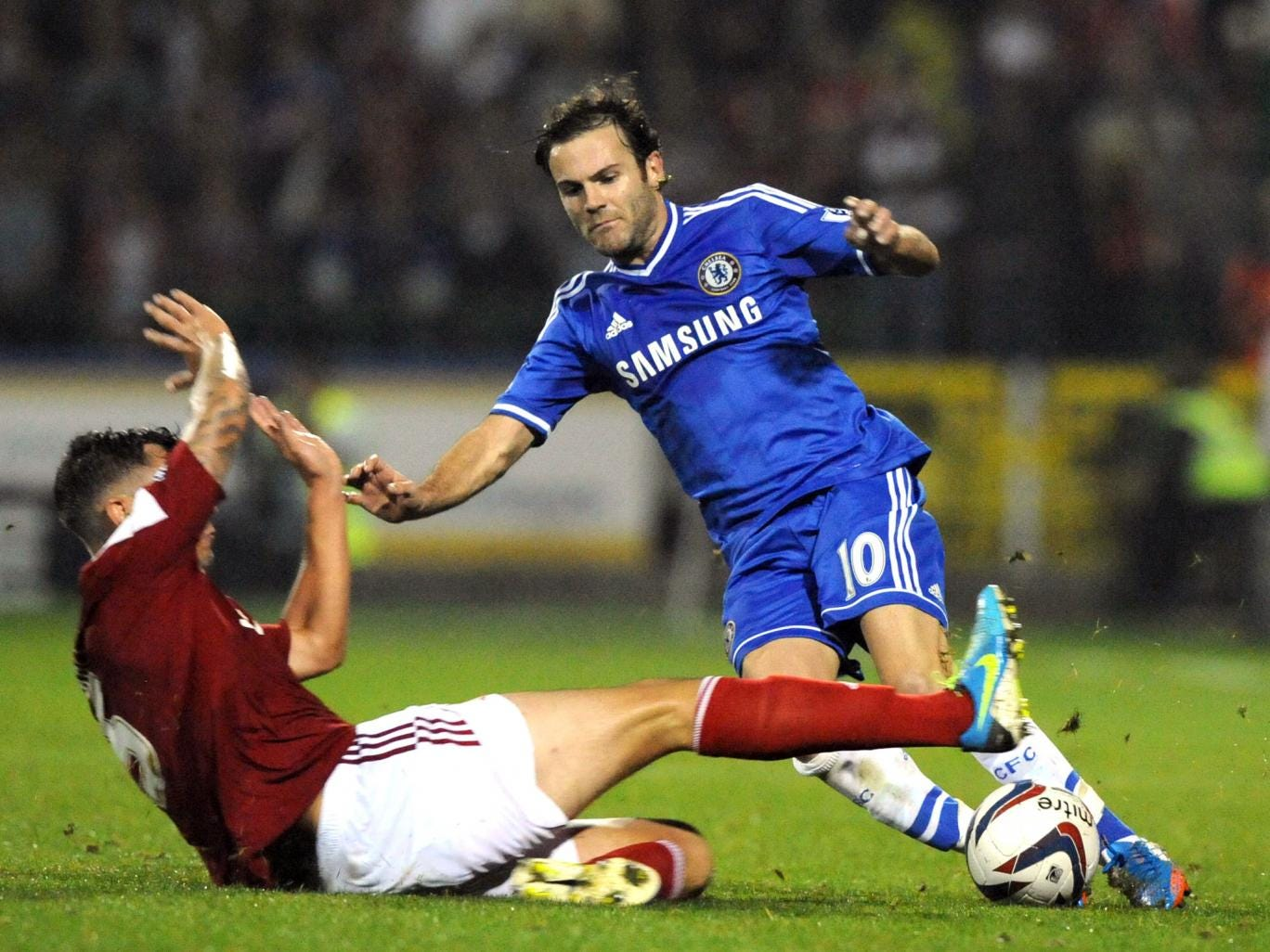 Juan Mata in action for Chelsea against Swindon Town in the Capital One Cup