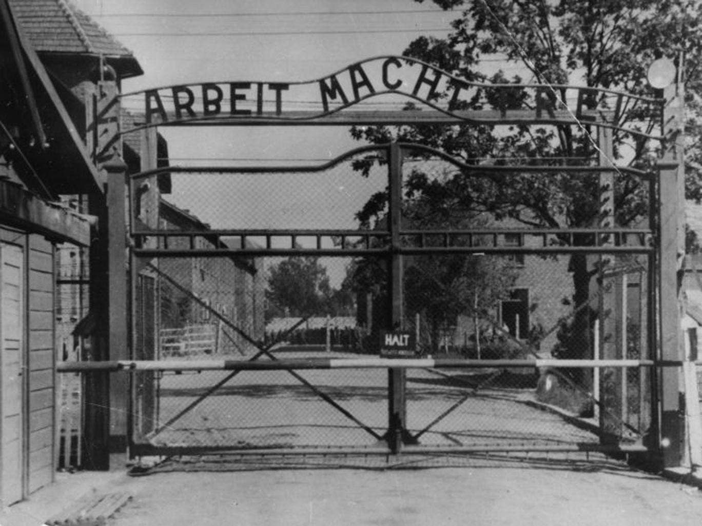 File photo shows the main gate at Auschwitz. German prosecutors have charged a 93-year-old man who allegedly served as an Auschwitz death camp guard with being an accessory to murder