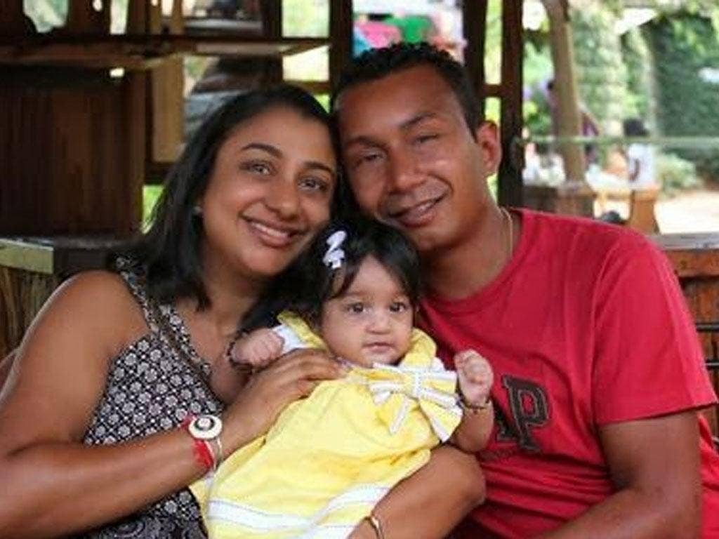 Mitul Shah with wife Rupal and daughter Sarai, aged two; while he was unable to convince gunmen to agree he gave victims time to flee
