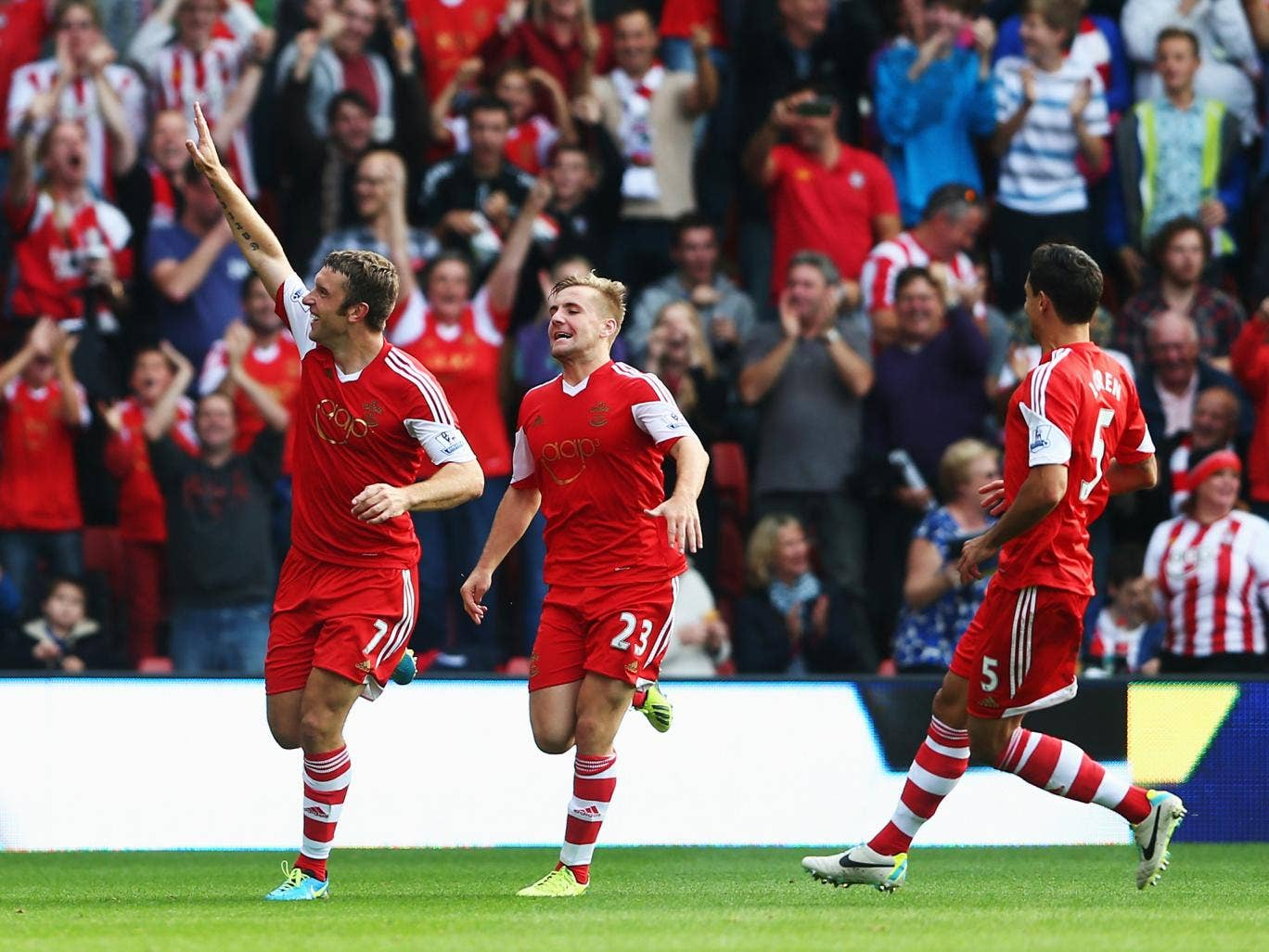 Rickie Lambert celebrates scoring Southampton's second goal against Crystal Palace