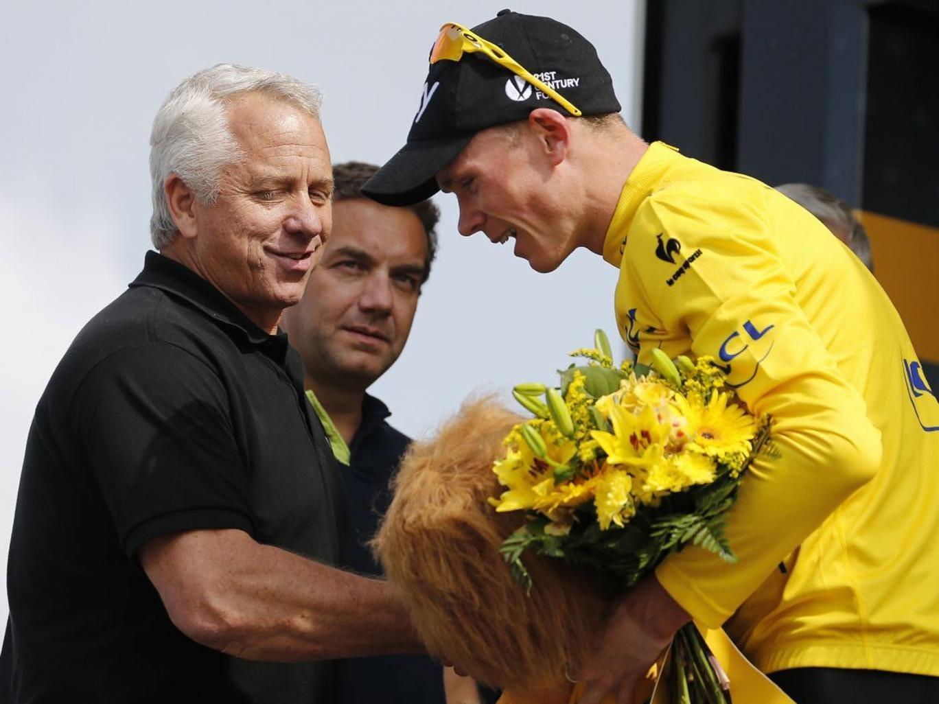 Yellow fellows: Former Tour hero Greg LeMond greets Chris Froome