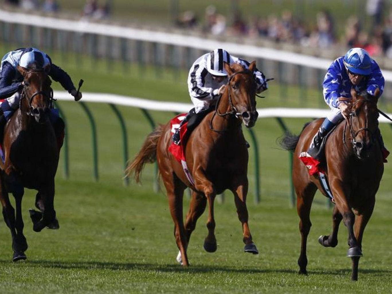 Vorda va va voom: Olivier Peslier (far right) guides the French challenger home in the Group One Cheveley Park Stakes at Newmarket yesterday