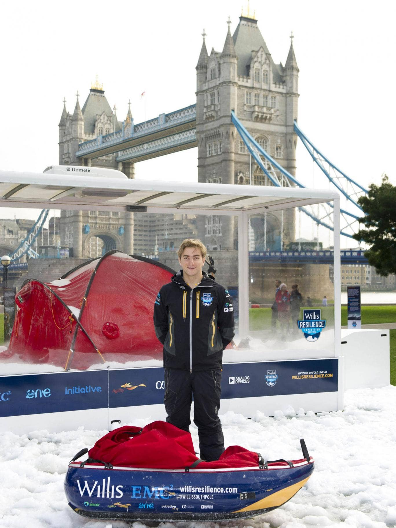 Parker Liautaud outside the Antarctic chamber, where the temperature is -25C