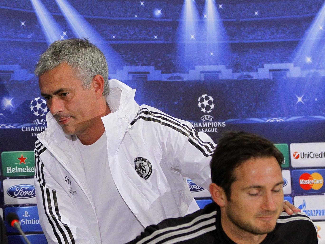 Jose Mourinho storms out of the Champions League press conference, leaving behind a bemused Frank Lampard