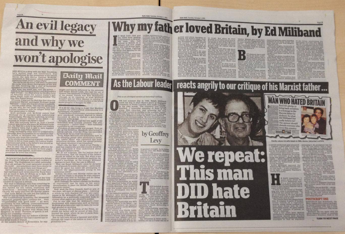 The spread in the Daily Mail, including Ed Miliband's response (top), the paper's editorial (left) and an abridged version of Saturday's original article by Geoffrey Levy