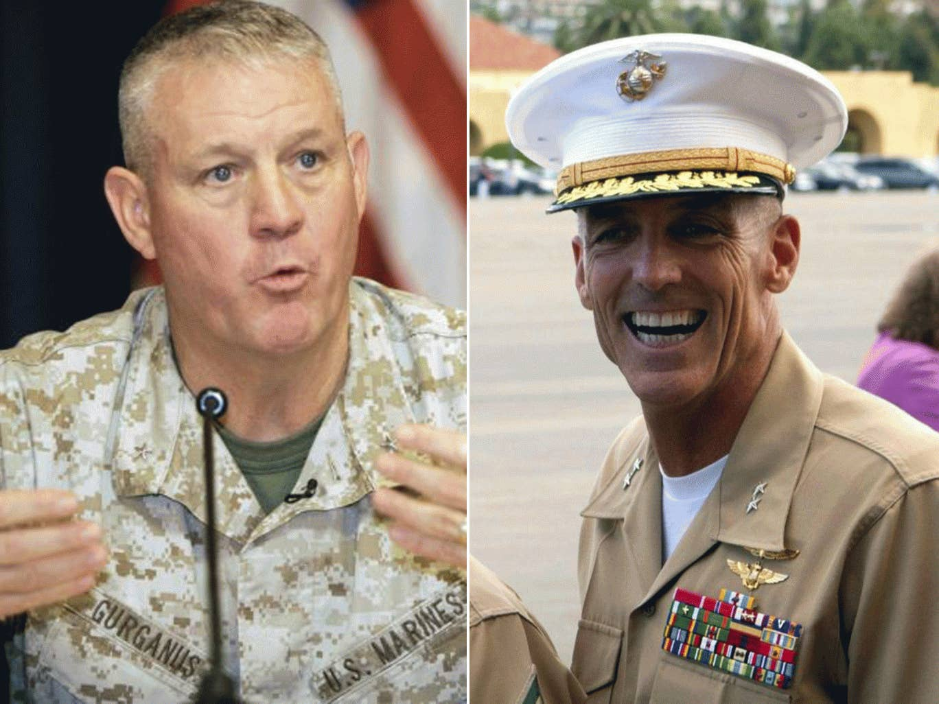 Major General Charles M. Gurganus (left) and Major General Gregg A. Sturdevant (right) were found not to have taken 'adequate' measures to defend a military base from Taliban attack