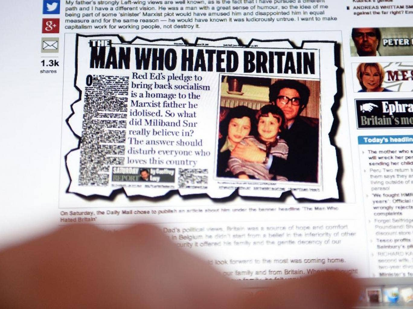 Ed Miliband's response on the Mail's website, illustrated with the original article attaching his father