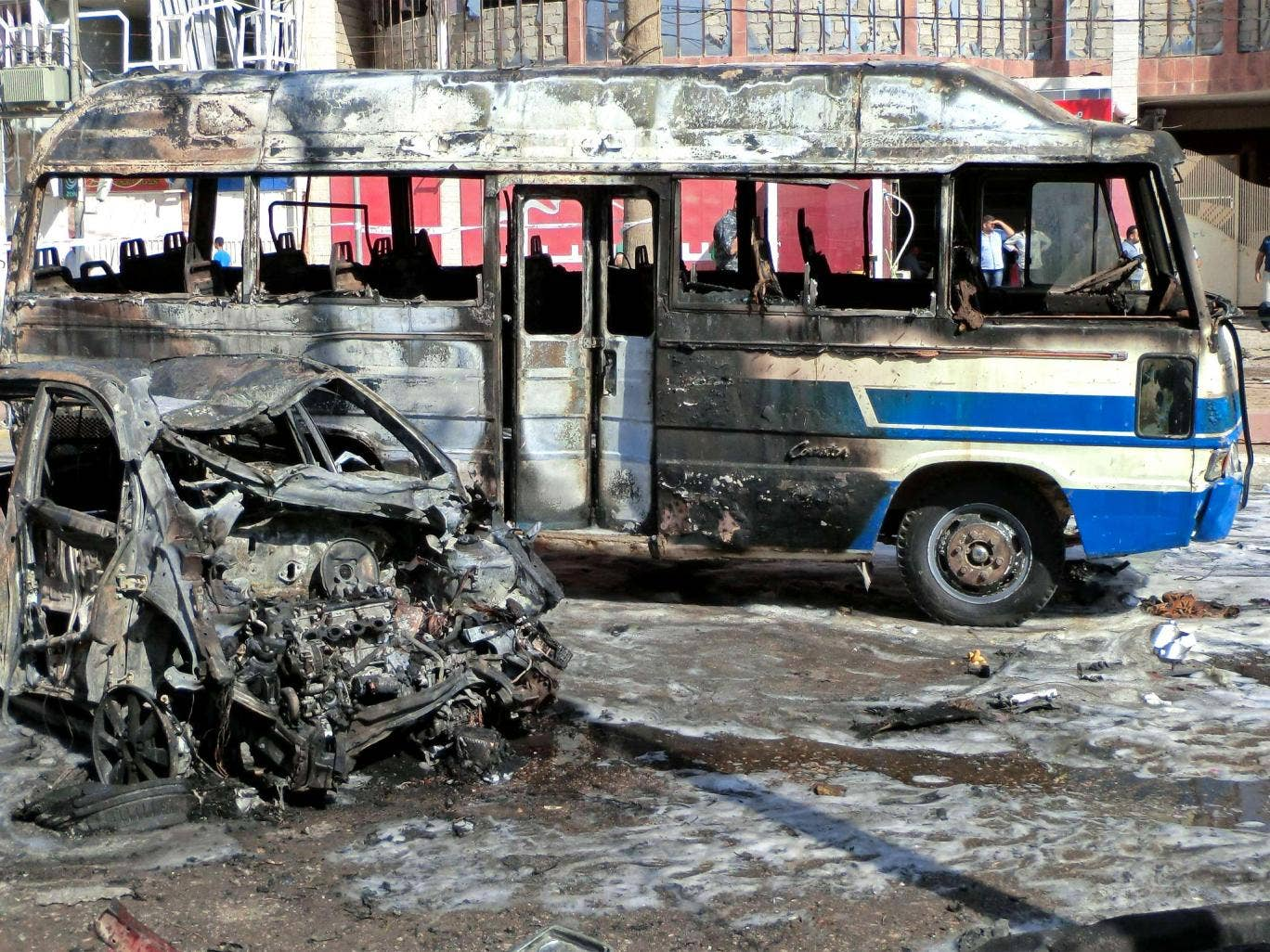 Aftermath of a car bombing in Kirkuk, northern Iraq, on Wednesday