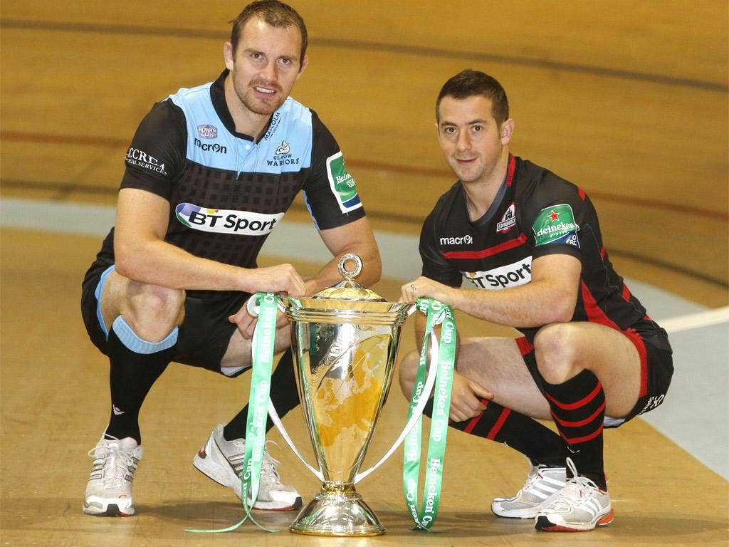 Glasgow Warriors Captain Alastair Kellock (left) and Edinburgh Rugby Captain Greig Laidlaw (right) during the Scottish Heineken Cup launch at the Sir Chris Hoy Velodrome, Glasgow