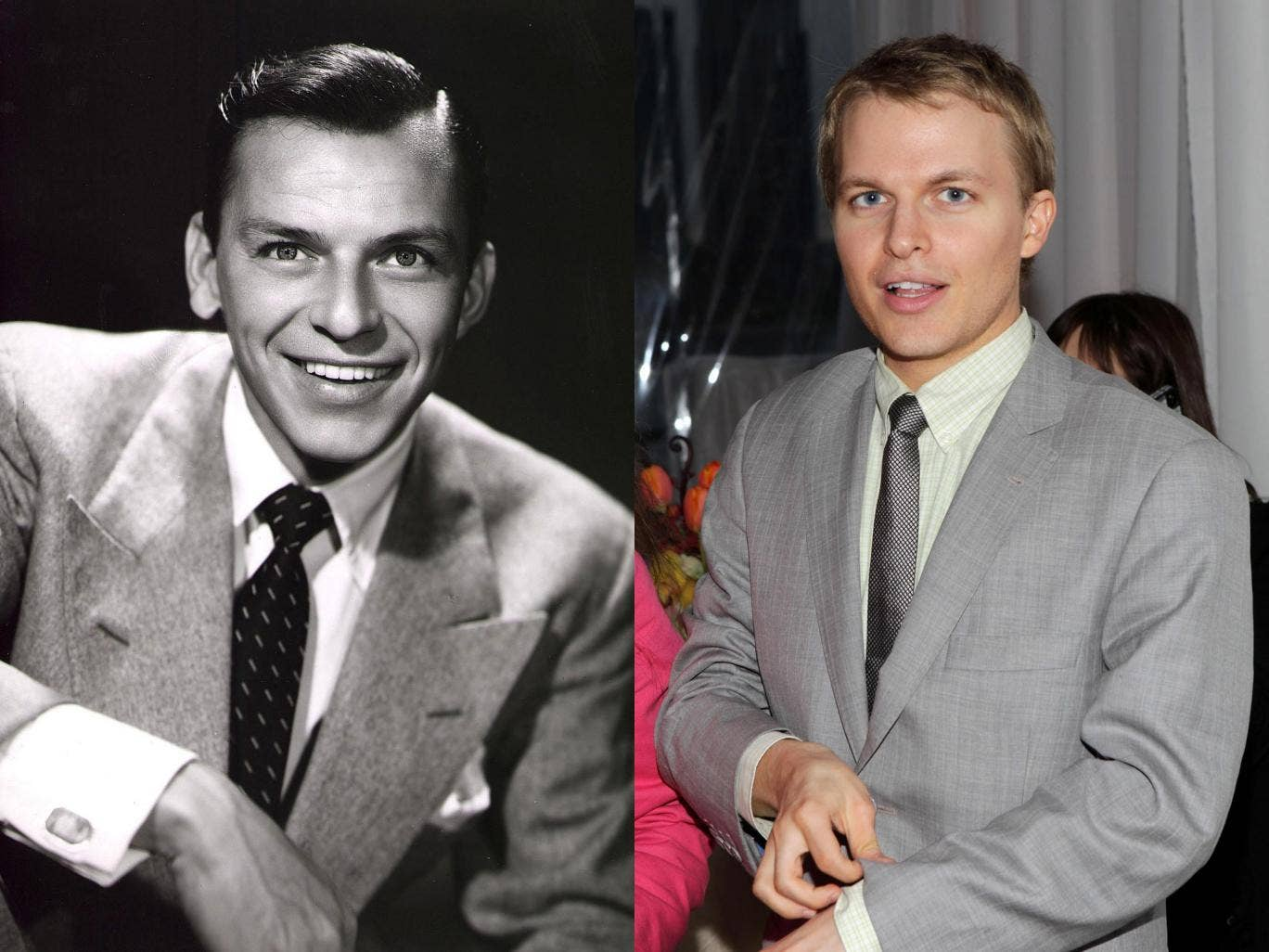 Frank Sinatra (left) could be the father of Mia Farrow's son Ronan (right)