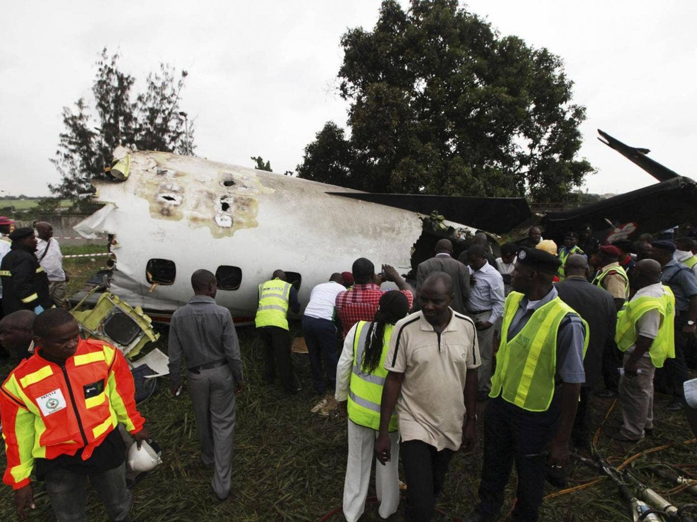 The Embraer passenger plane crashed just outside Lagos airport's domestic terminal this morning