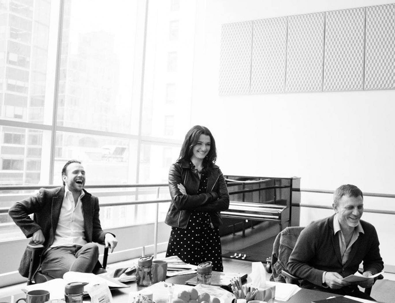 Rafe Spall (left), Rachel Weisz (centre) and Daniel Craig in rehearsals for Betrayal