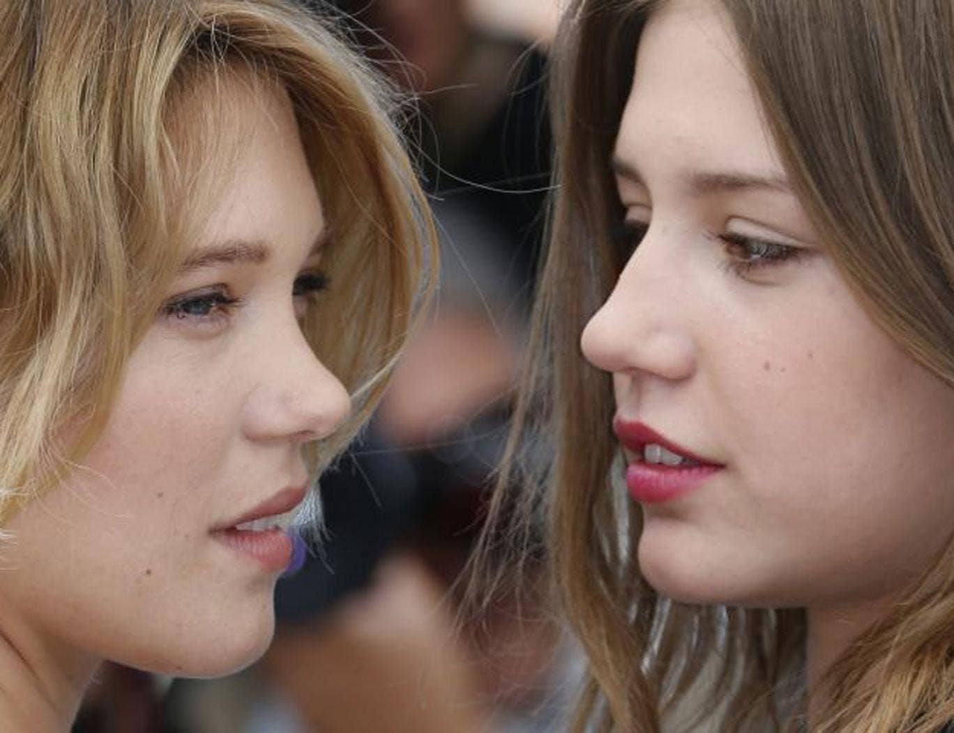 "Lea Seydoux (left) and Adele Exarchopoulos at a photocall for the film ""Blue is the Warmest Colour"""
