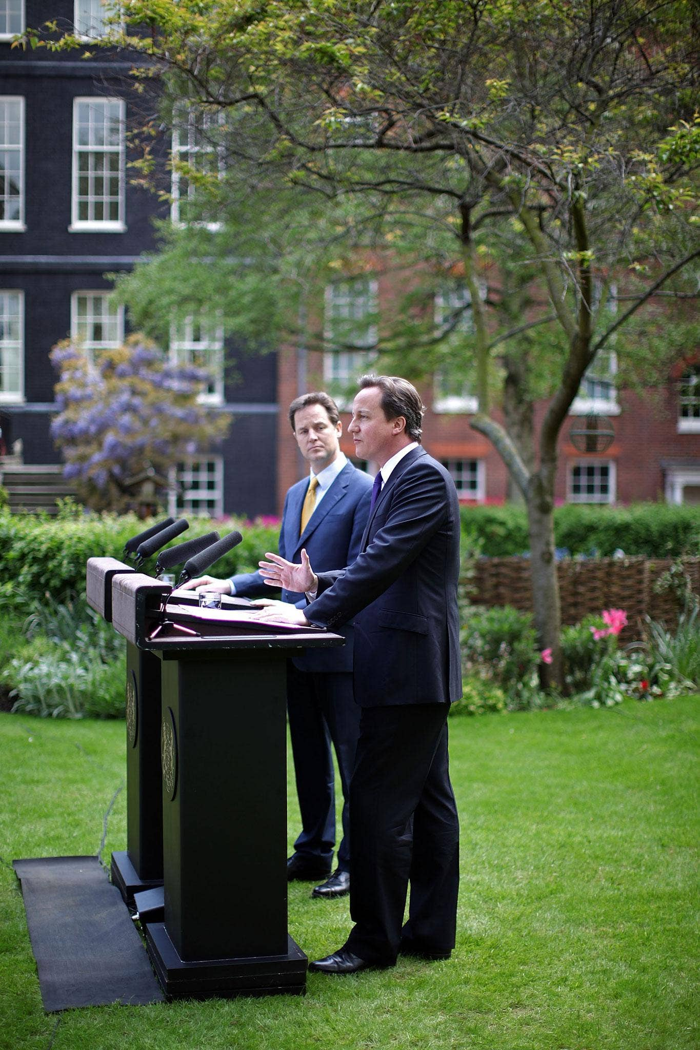Clever student politicians? Nick Clegg and David Cameron in the Rose Garden at 10 Downing Street, London, 2010