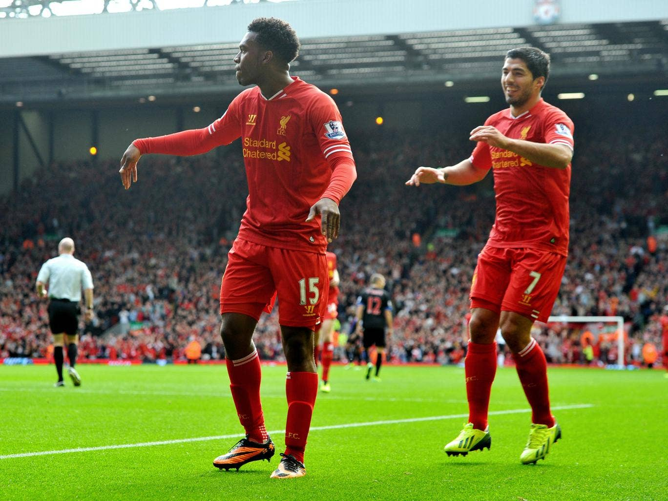 Daniel Sturridge and Luis Suarez celebrate after Liverpool go 2-0 up against Crystal Palace