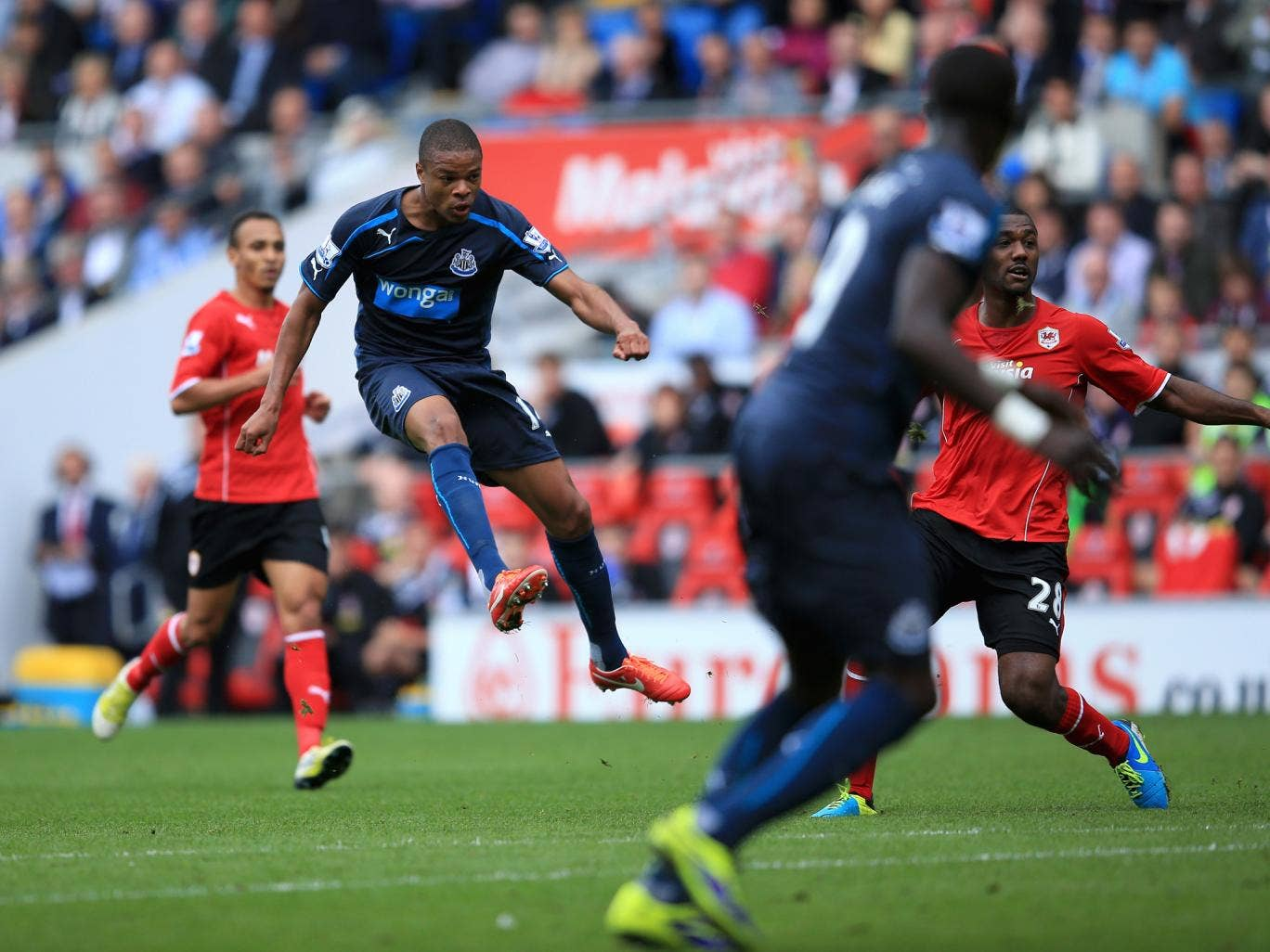 Loic Remy opens the scoring for Newcastle against Cardiff