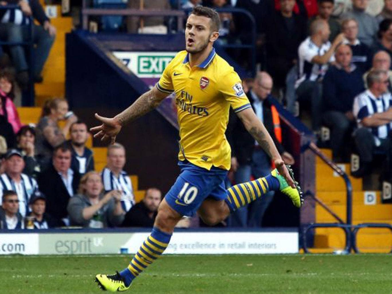 Jack Wilshere celebrates his goal for Arsenal against West Brom on Sunday