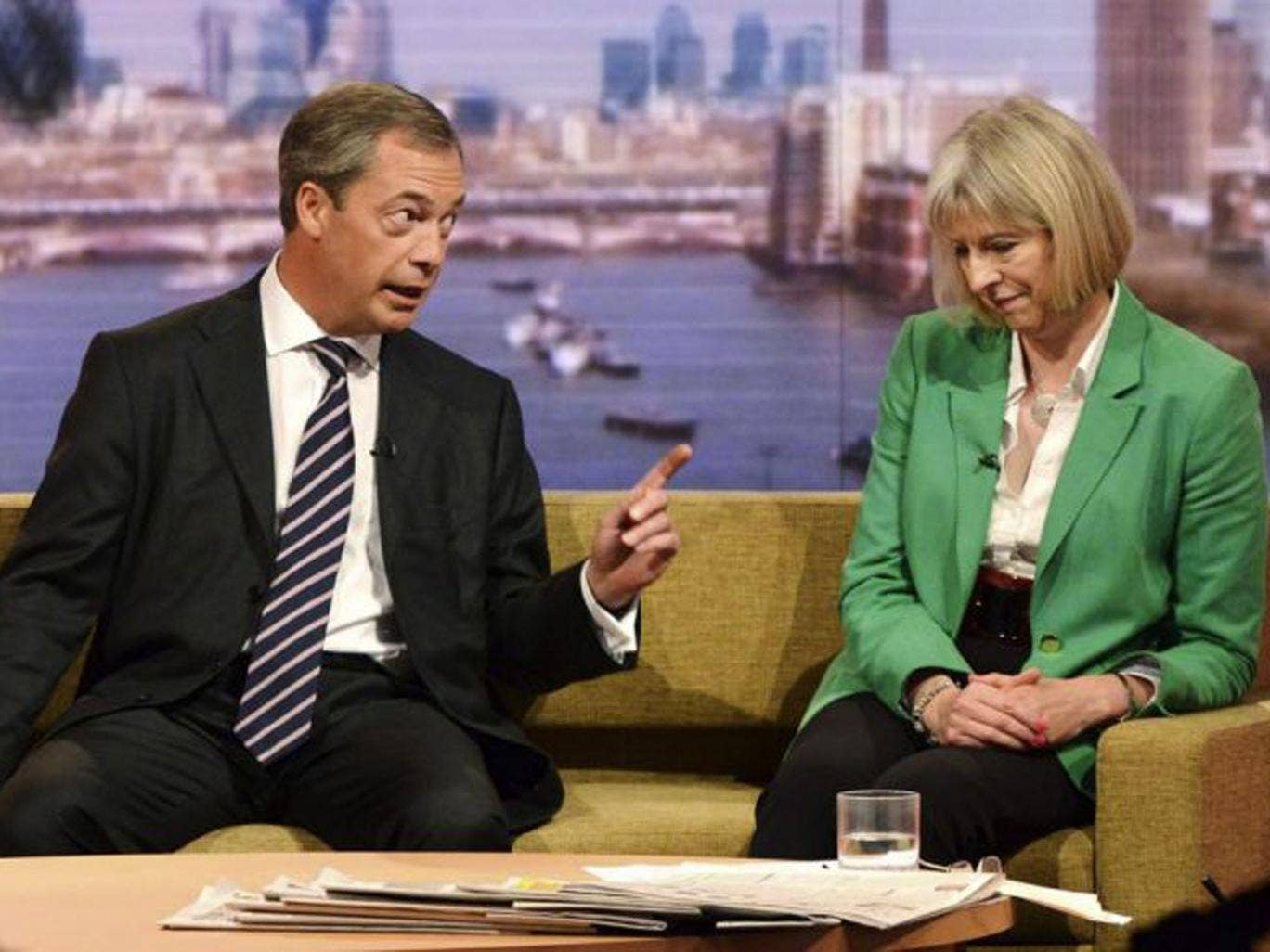Nigel Farage with Theresa May on The Andrew Marr Show yesterday