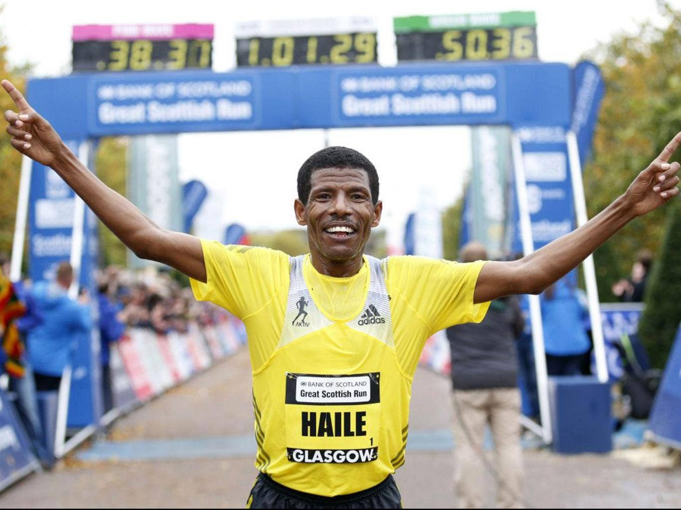 The 40-year-old Ethiopian crossed the line in 1hr 1min 6sec
