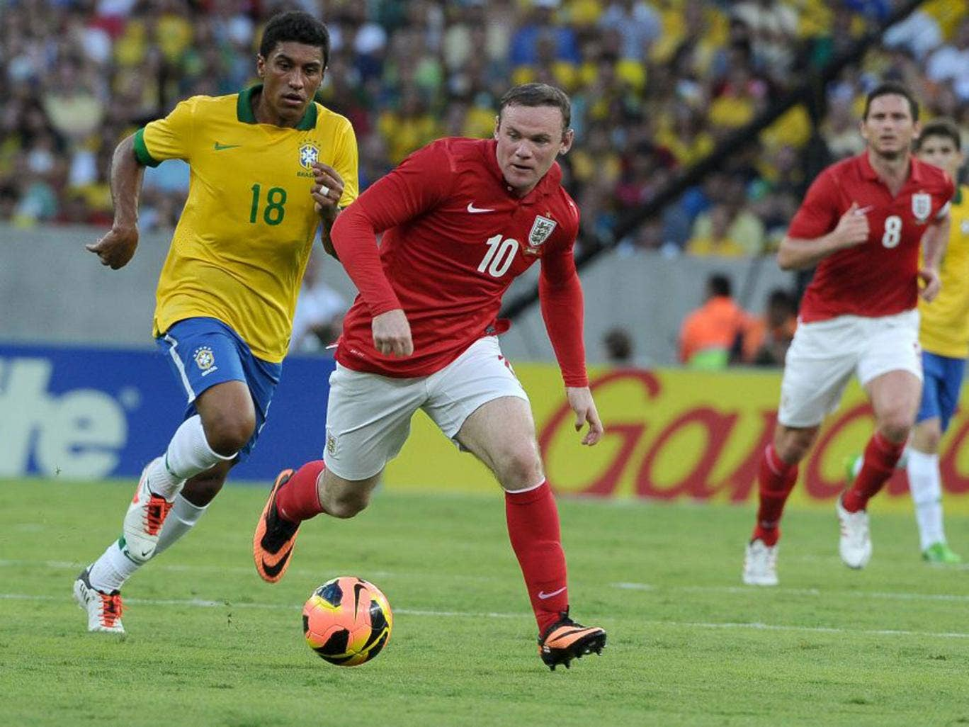 Could Wayne Rooney, right, and Paulinho meet in a future Uefa Cup of Nations?