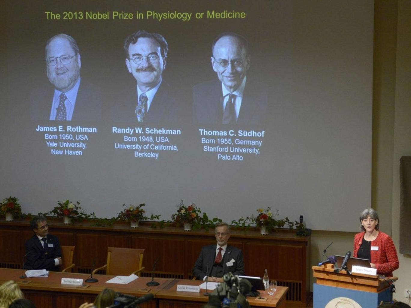 The Chairman of the Nobel committee for medicine Juleen Zierath speaks as James Rothman, Randy Schekman and Thomas Suedhof  are awarded the prize in Stockholm, Sweden