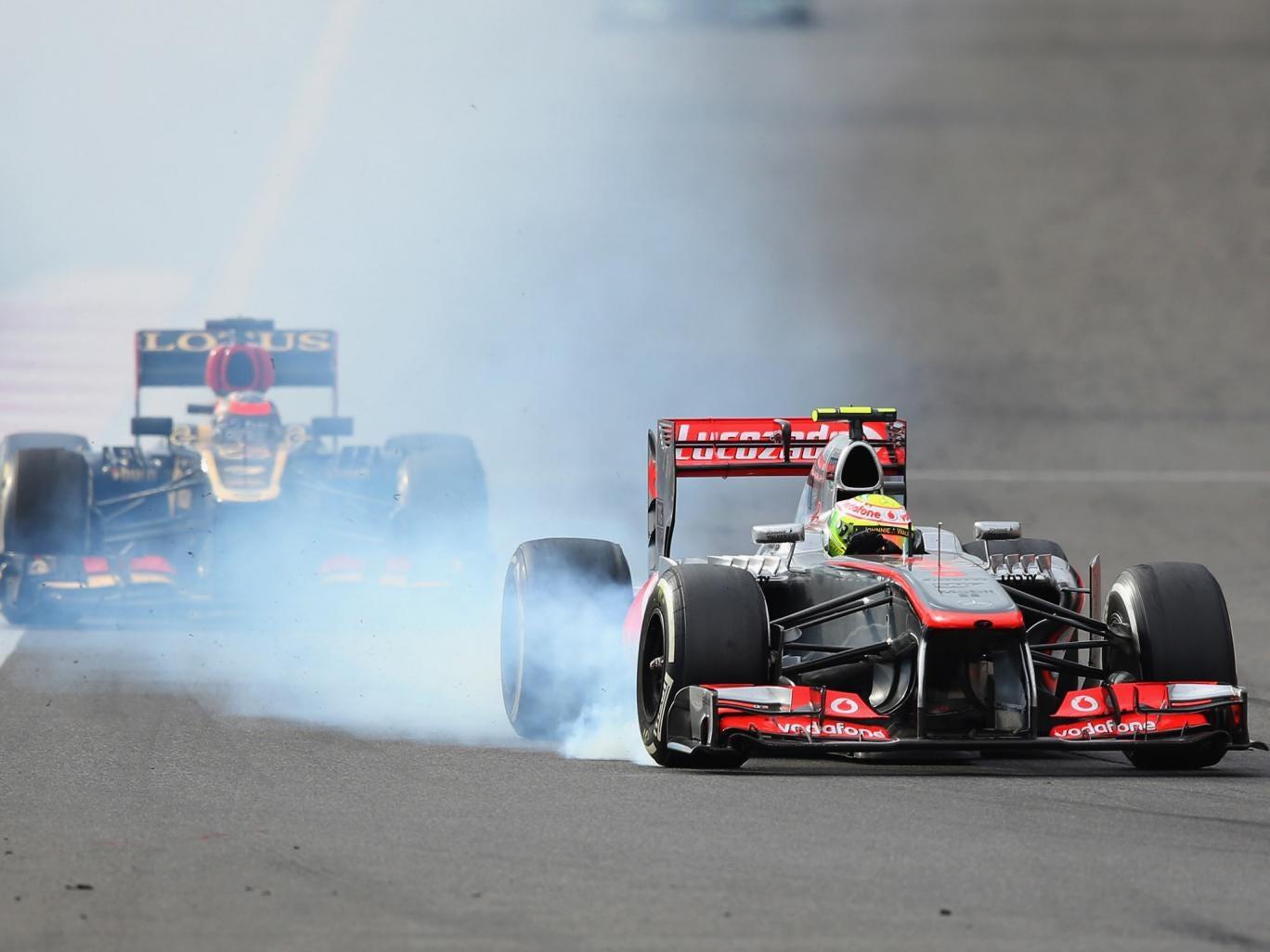 Sergio Perez of Mexico and McLaren locks his brakes while driving during the Korean Formula One Grand Prix