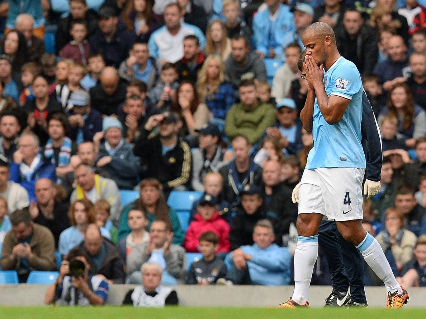 Vincent Kompany was forced off in the victory over Everton