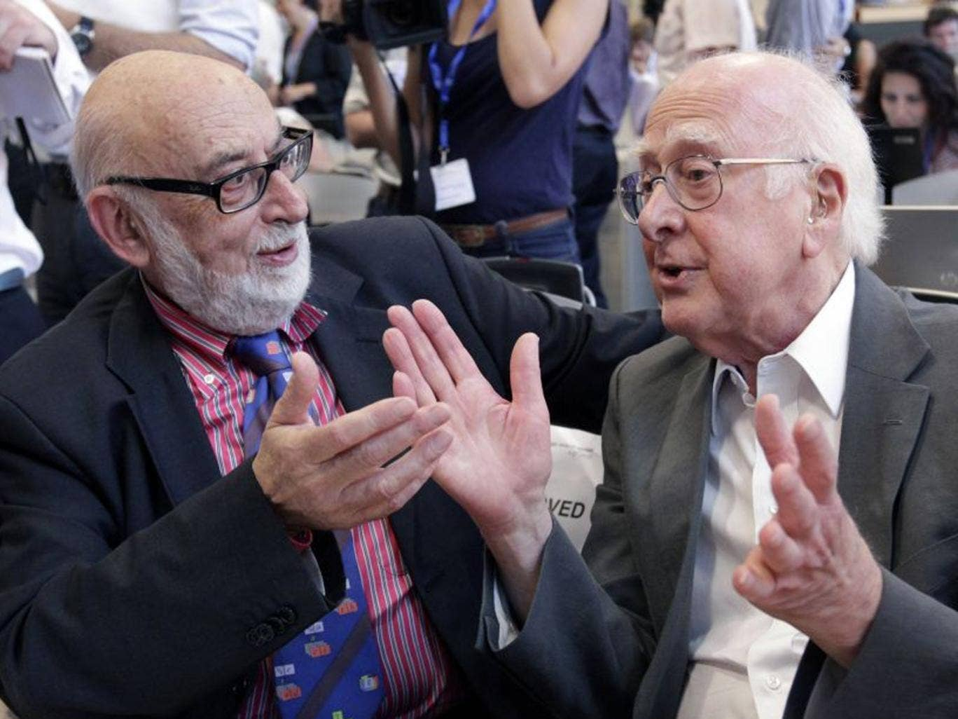British physicist Peter Higgs with Belgium physicist Francois Englert