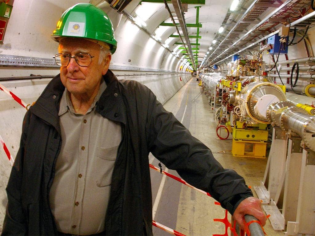 Professor Higgs inside the Large Hadron Collider at CERN, the machine that proved the existence of the particle that was named after him