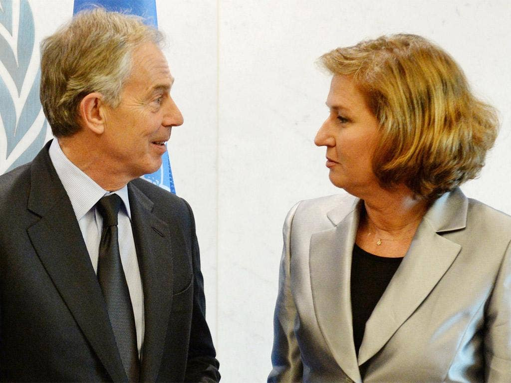 Tony Blair with the Israeli Foreign Minister Tzipi Livni at the UN General Assembly in New York last month