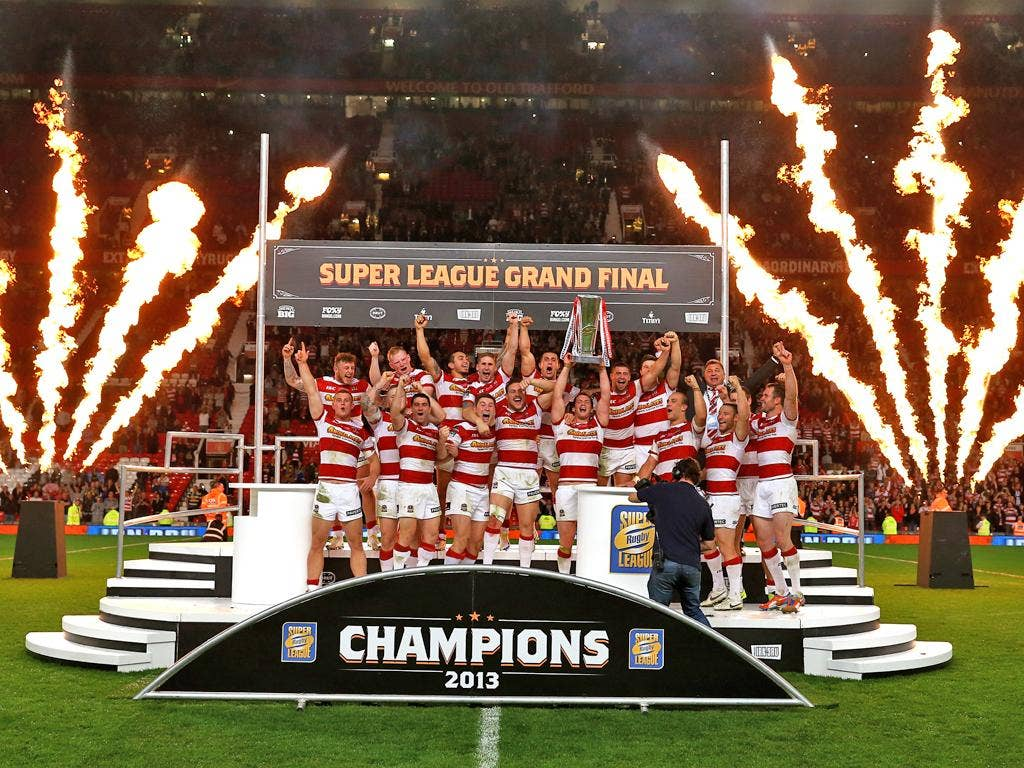 Wigan celebrate their Super League Grand Final victory last weekend
