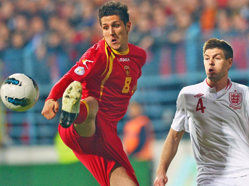 Stevan Jovetic (left) holds off Steven Gerrard during March's 1-1 draw in Podgorica