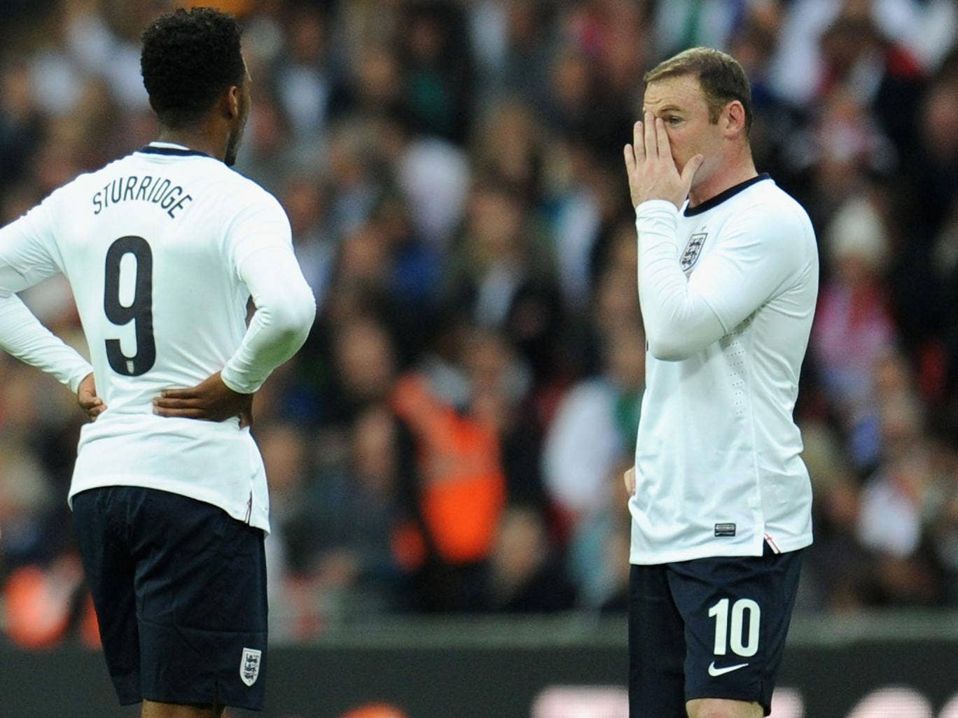 Daniel Sturridge and Wayne Rooney in action for England against Ireland in May