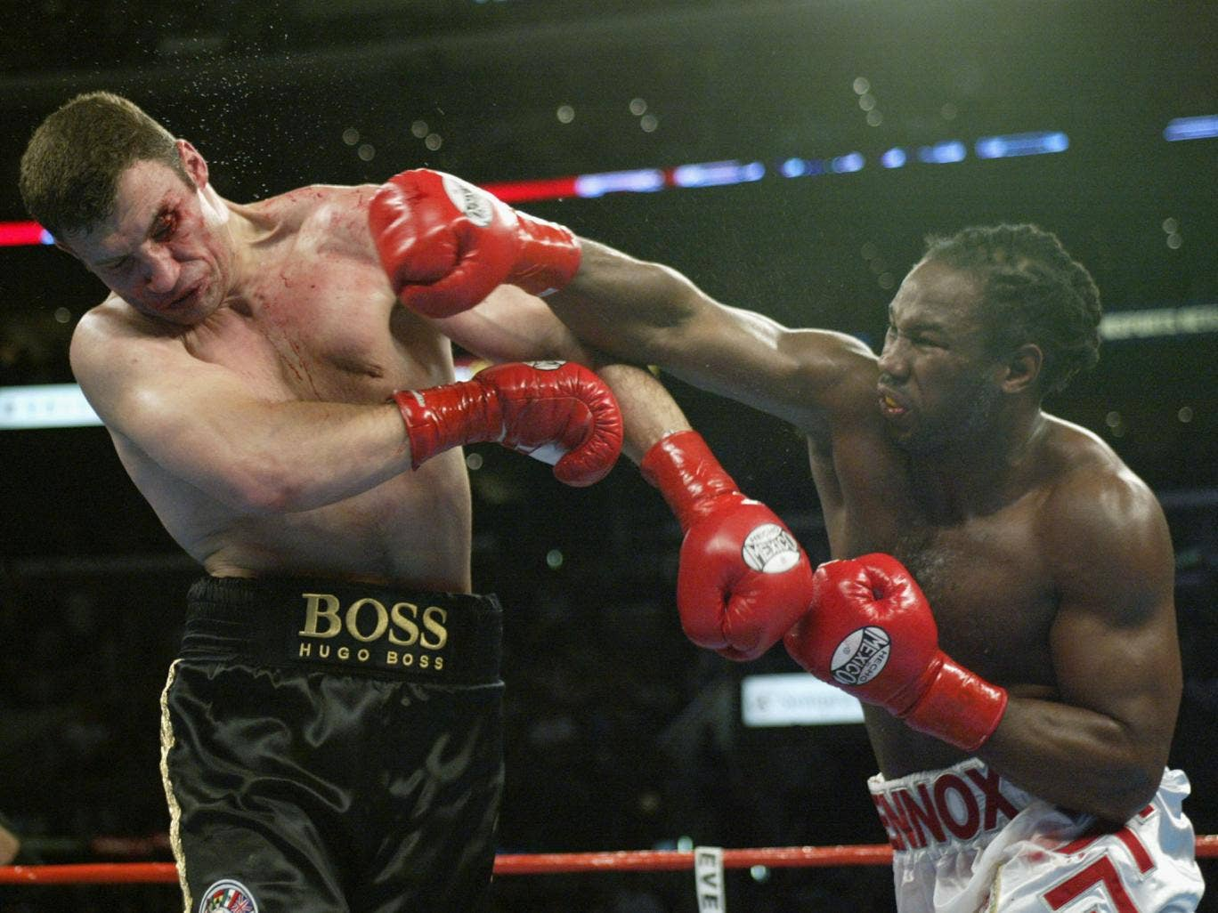 Lennox Lewis hasn't fought since 2003 when he beat Vitali Klitschko after he suffered a cut above his left eye