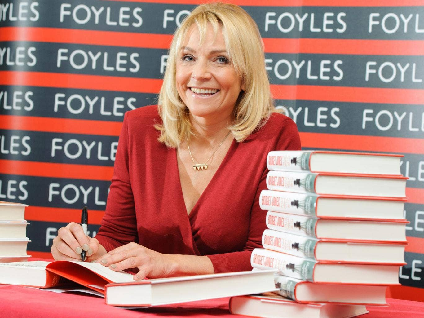 Helen Fielding signs copies of her latest Bridget Jones novel at Foyles in central London