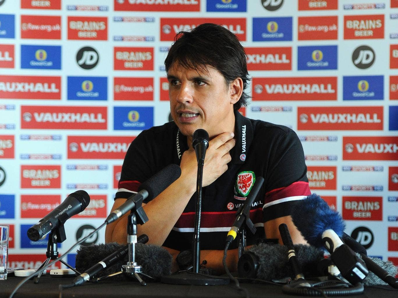Chris Coleman faces the media in Cardiff