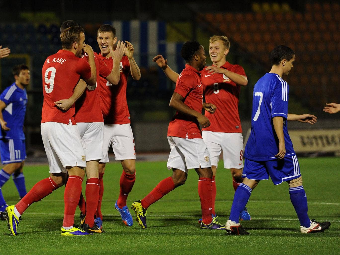 England Under-21s celebrate after scoring in the 4-0 victory over San Marino