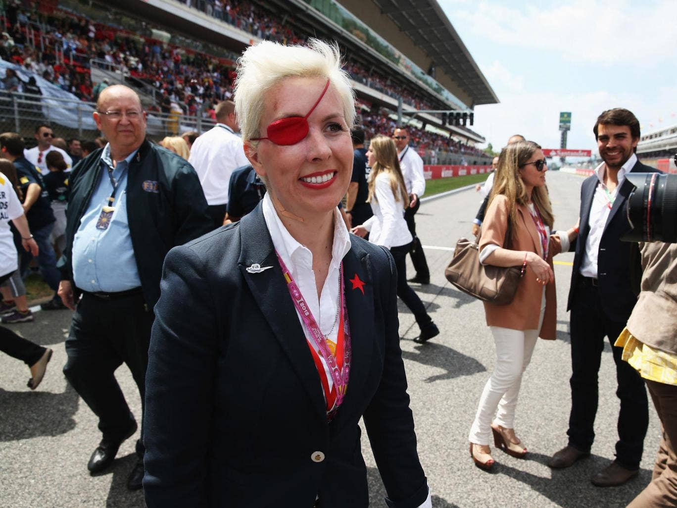María de Villota is seen on the grid before the Spanish Formula One Grand Prix at the Circuit de Catalunya back in May