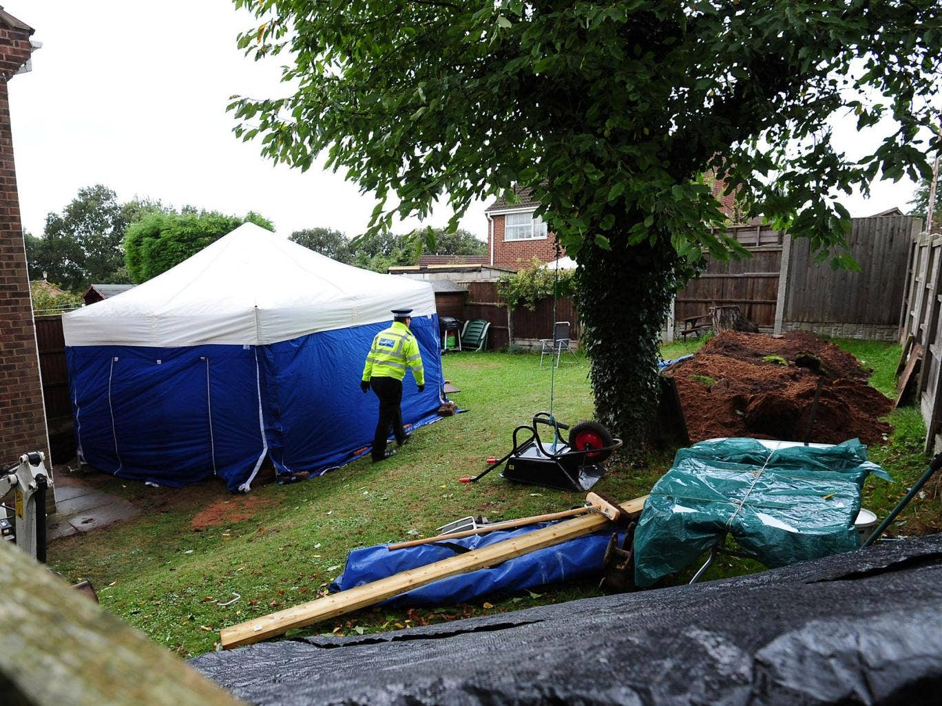 The remains of two people have been found in the garden of a house in Blenheim Close, Forest Town, near Mansfield