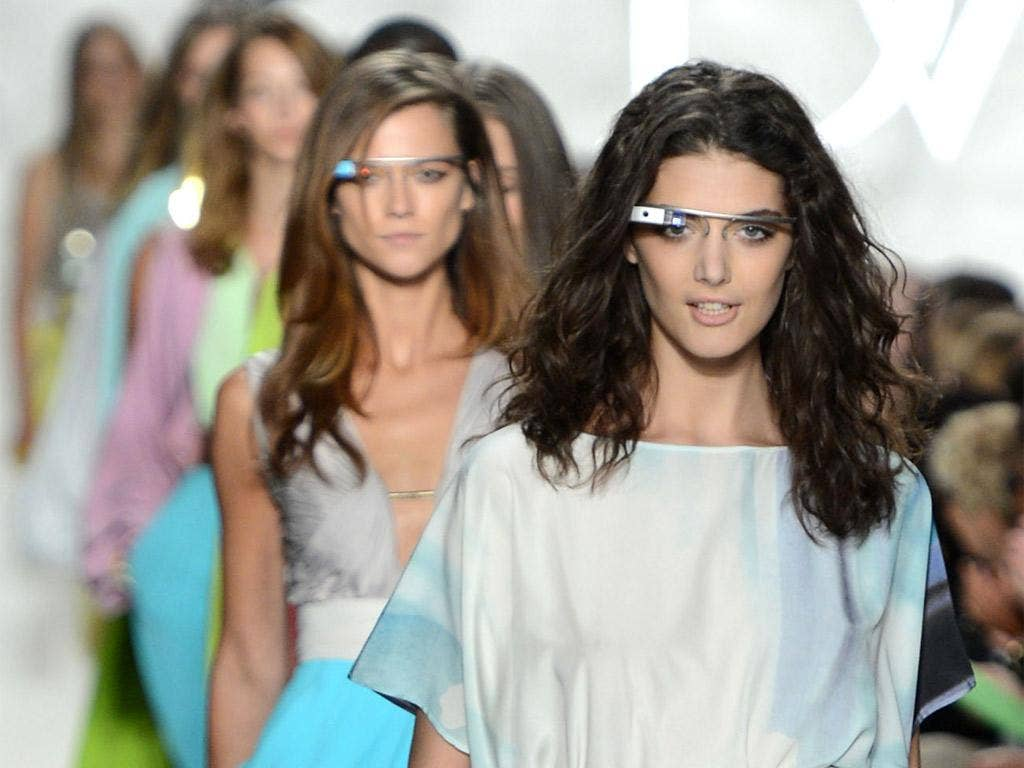 Diane von Furstenberg models in futuristic glasses at last autumn's New York Fashion Week